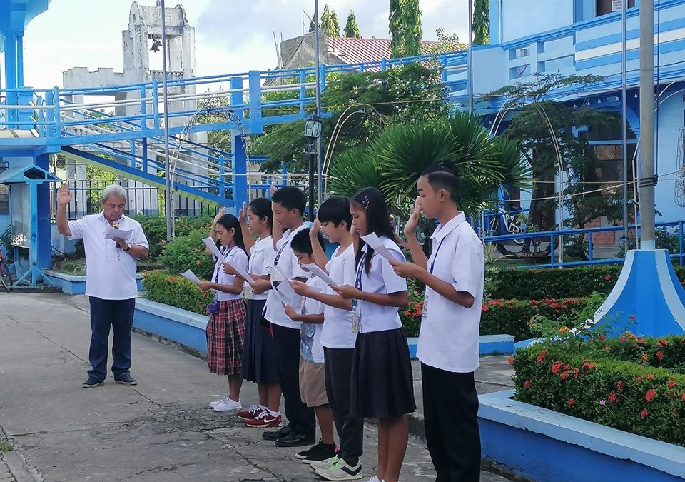 Officers of Child-Leaders and Advocates of the Municipality of Magallanes took oath during the Flag Raising Ceremony of the Local Government Unit